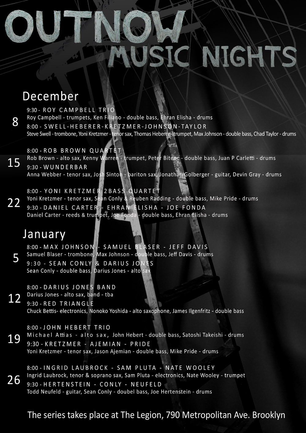 OutNow Music Nights program - December 2013 & January 2014