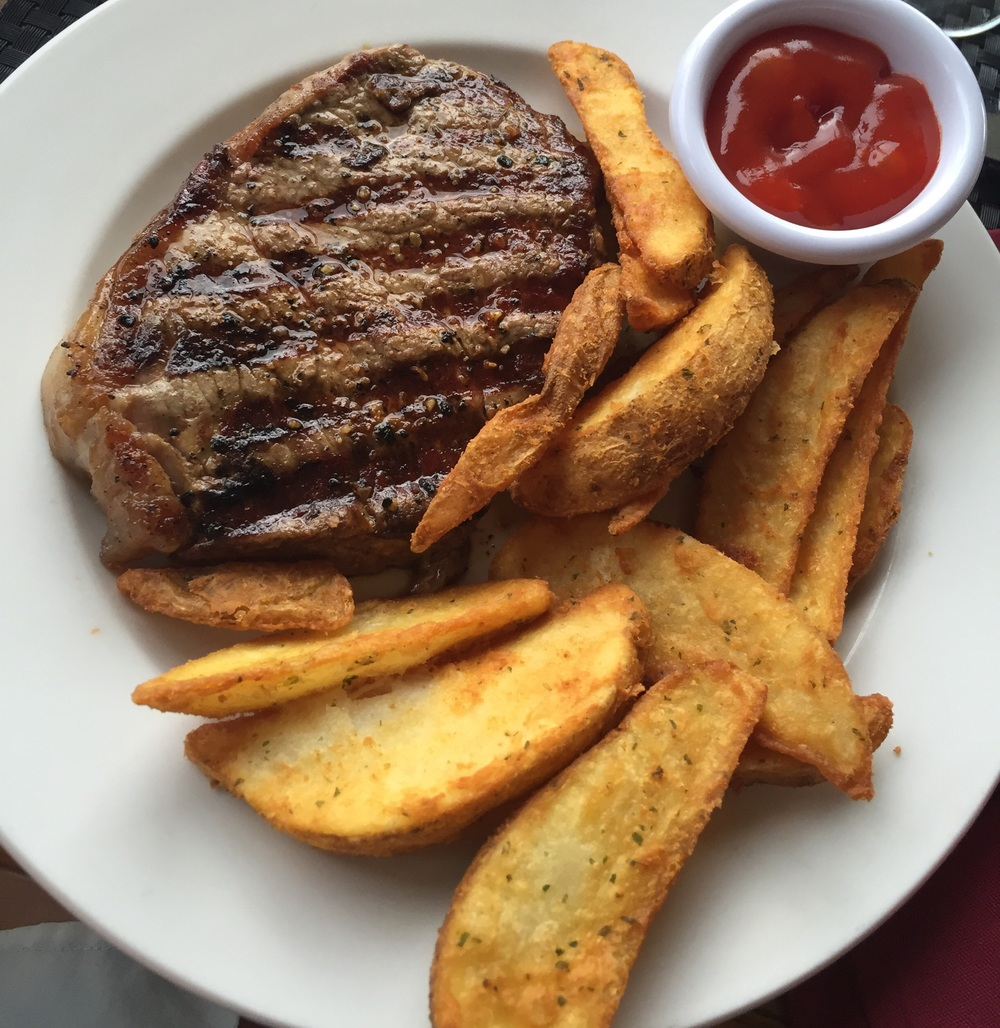 The BEST steak and fries. Ever. This was eaten 2 miles up a mountain in the Palm Desert, after we road the Palm Springs Aerial Tram. Such a fun experience... More about it below :-)