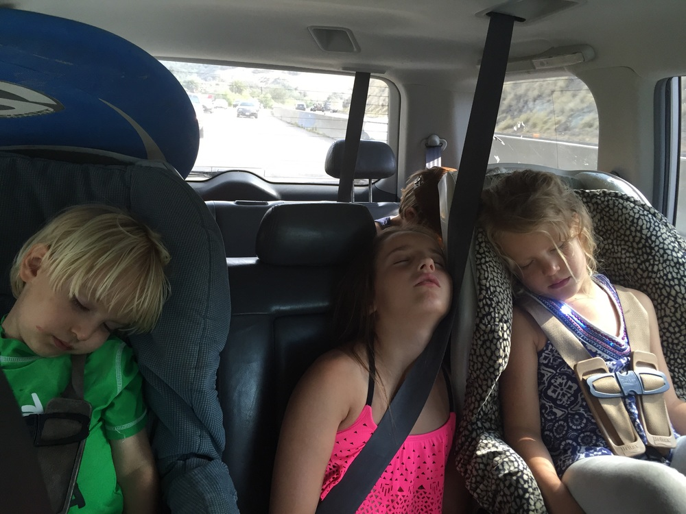 Sleepy heads after a long day at the beach.