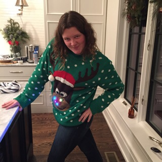 My goofiest friend... Grace, or as most people know her as, @gracethemilkman. I can't begin to explain her, all I know is that she could the Grinch laugh! And yes- her sweater lights up.