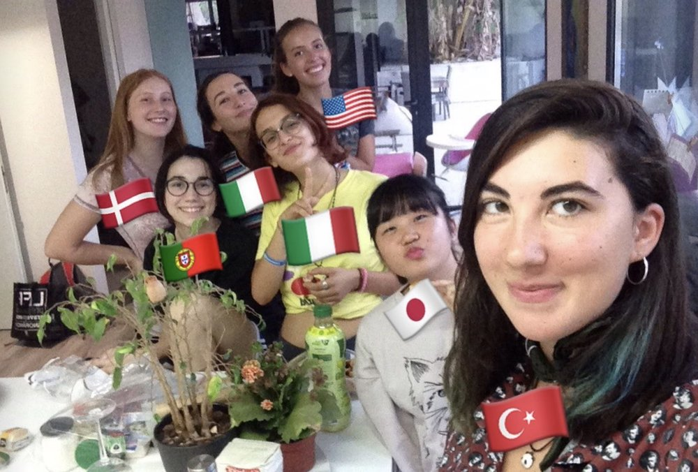 "My exchange friends and I! Irem from Turkey, Ayaka from Japan, Viola & Roberta from Italy, Anna-Sofie from Denmark and Ana from Portugal. We had an ""intercultural dinner"", so we each made a different dish from our countries. I had to make chocolate chip cookies, they've always been my go-to here!"