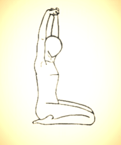Virasana   means hero pose. Use height (a blanket or block) under your hips if they don't reach the floor comfortably. Stretch the hands overhead or rest them by your side. Make sure the spine remains long and straight.