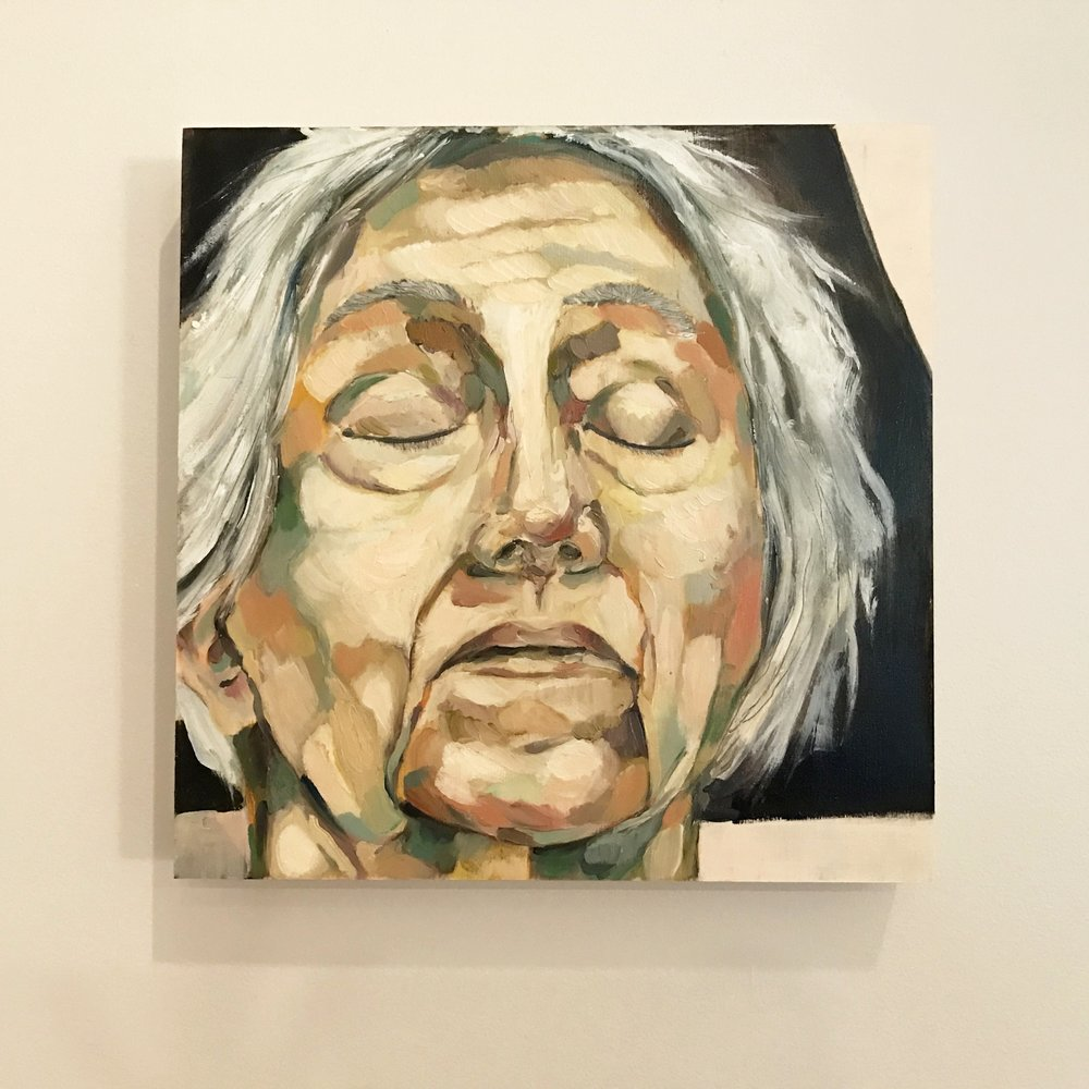 Marianne Moore, oil on birch panel, 12 x 12""