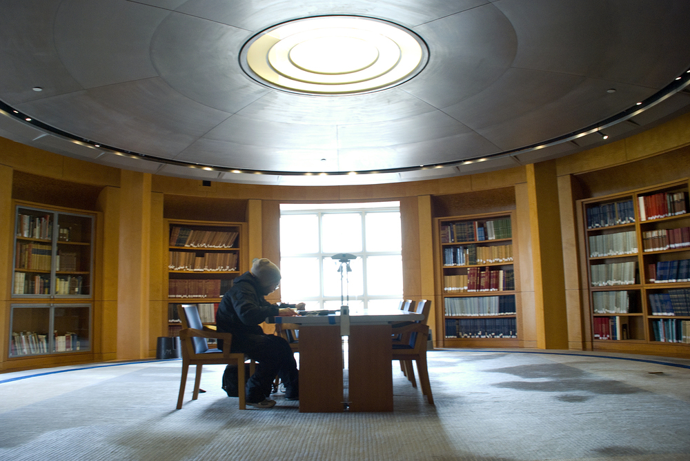 Rodrigo Yanez studies music theory in the San Francisco Public Library's 4th floor music center. San Francisco, CA.