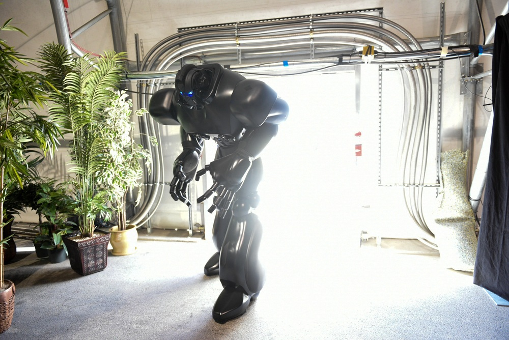 A robot enters through the pavilion door.