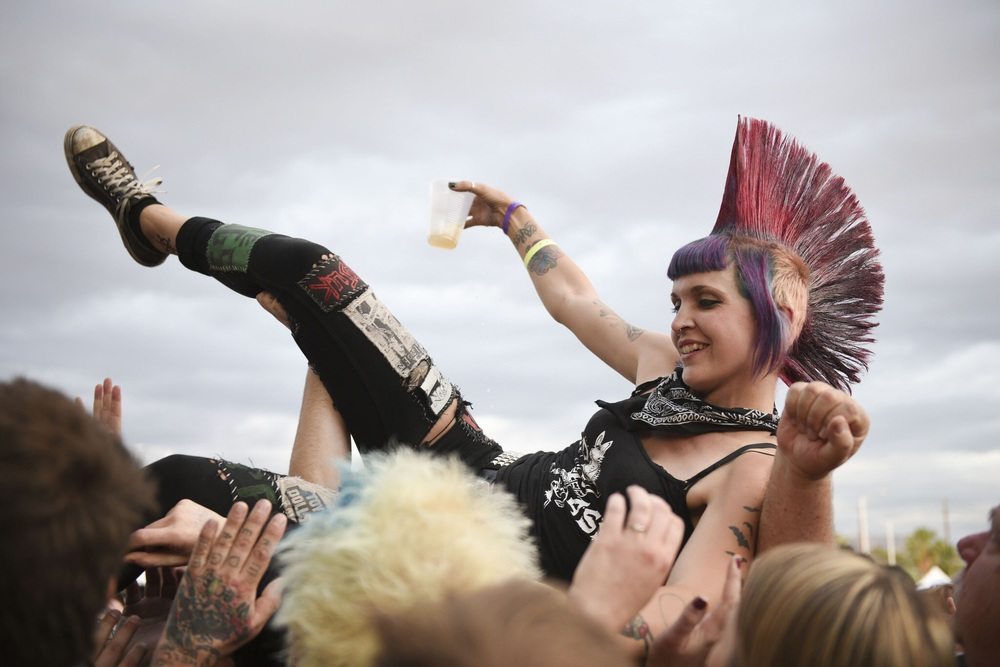 A crowd surfer during J ello Biafra & The Guantanamo School Of Medicine's set.