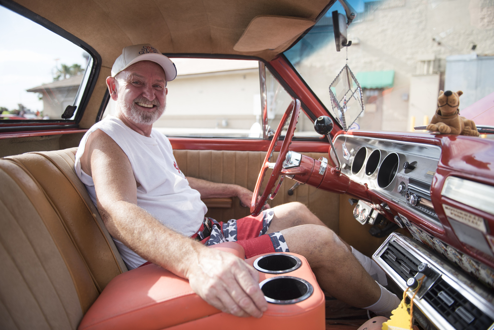 Mike Privette poses for a photo in his Chevrolet El Camino at the West End Boys car gathering in the Vons parking lot at 6000 West Cheyenne Avenue in Las Vegas, Sunday, July 5, 2015.(Jason Ogulnik/Las Vegas Review-Journal)