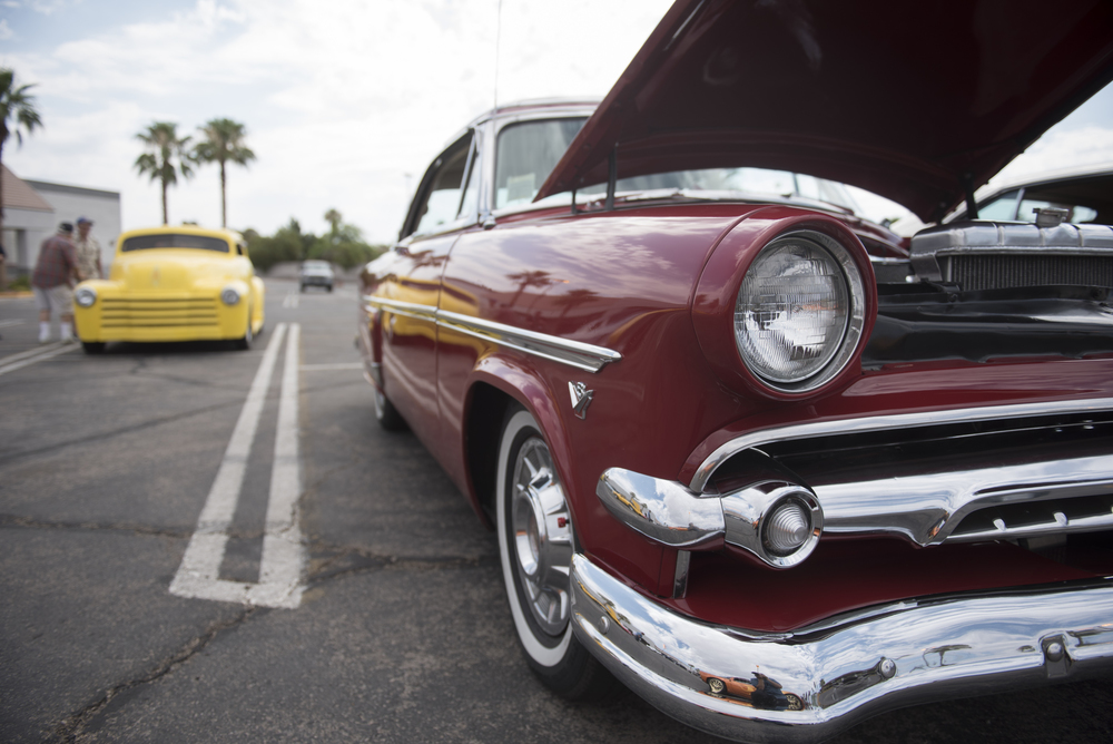 Cars are on display at the West End Boys car gathering in the Vons parking lot at 6000 West Cheyenne Avenue in Las Vegas, Sunday, July 5, 2015.(Jason Ogulnik/Las Vegas Review-Journal)
