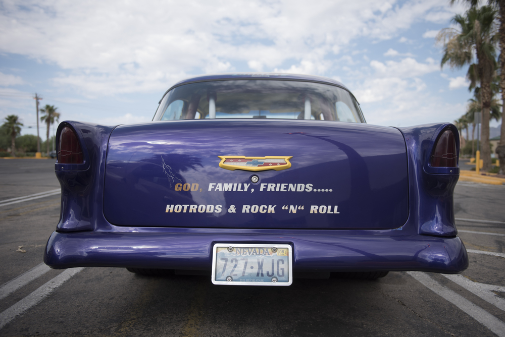 Les Rodrigues' car is shown at the West End Boys car gathering in the Vons parking lot at 6000 West Cheyenne Avenue in Las Vegas, Sunday, July 5, 2015.(Jason Ogulnik/Las Vegas Review-Journal)