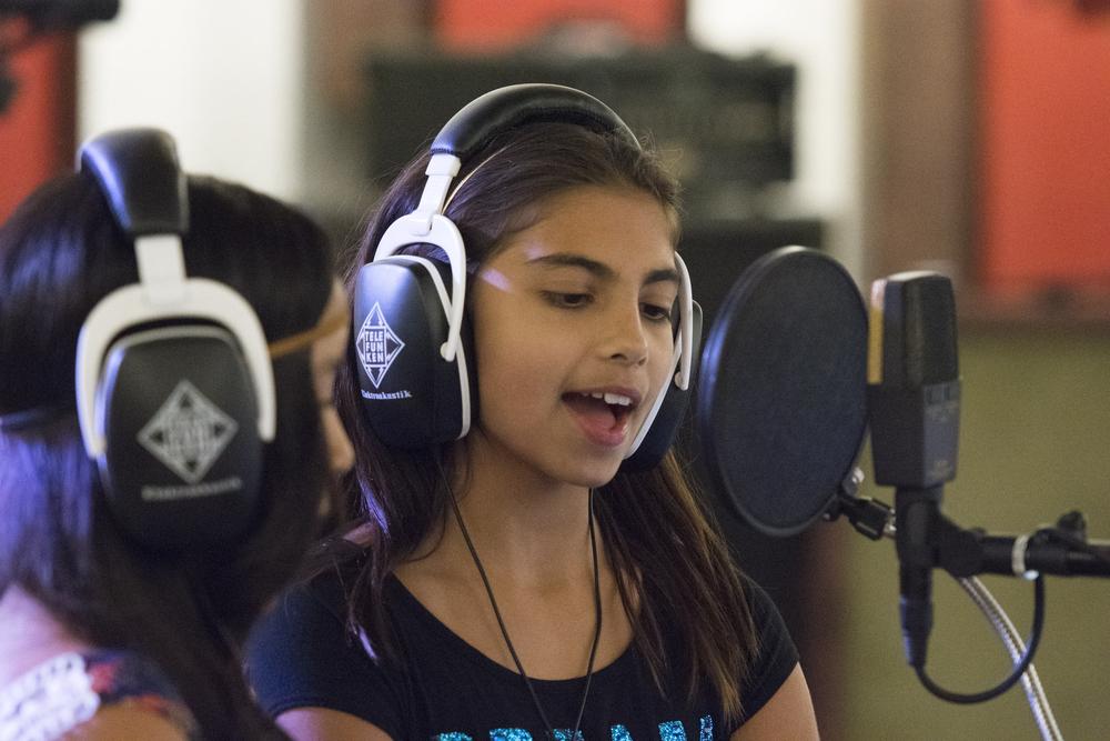 "Ava Thrasher, 10, records her song ""remember"" at National Southwestern Recording in Las Vegas, Thursday, July 16, 2015.(Jason Ogulnik/Las Vegas Review-Journal)"