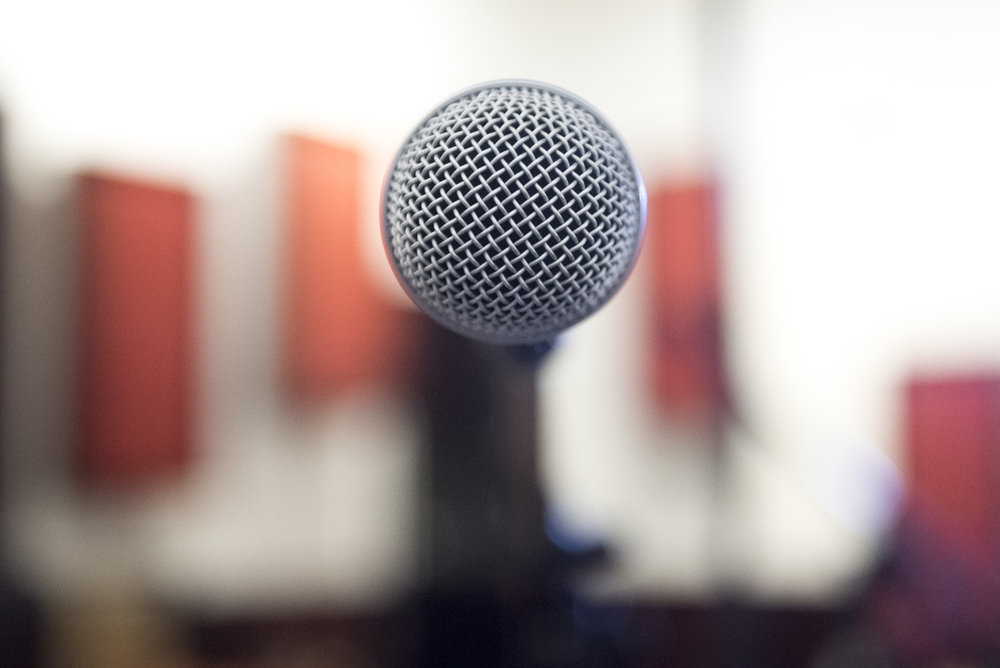 A microphone is shown at National Southwestern Recording in Las Vegas, Thursday, July 16, 2015.(Jason Ogulnik/Las Vegas Review-Journal)