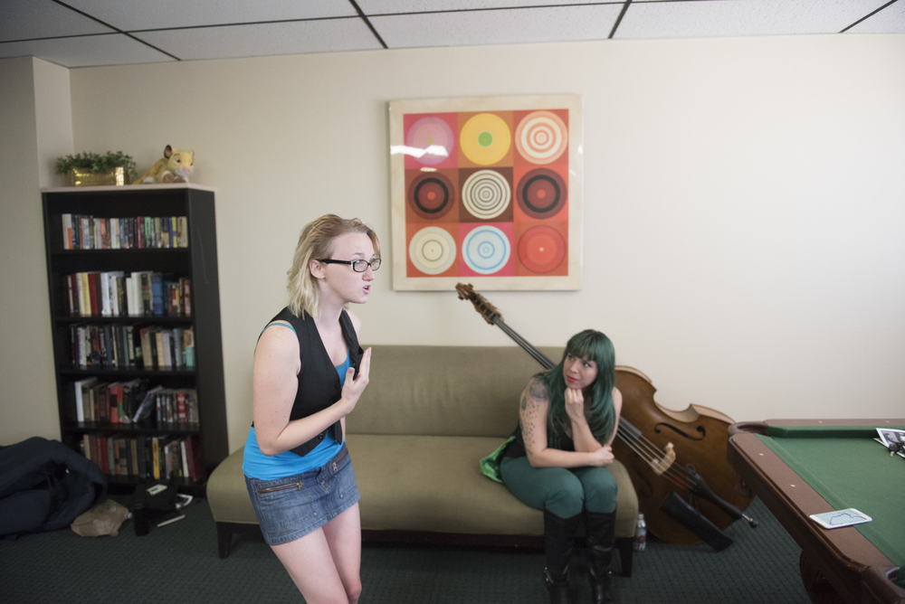 "From left, Philena Carter and Jill ""Mizz Absurd"" Avilez rehearse for their upcoming show entitled ""Funky Love"" in the community room at Lee Mallory's Las Vegas residence, Sunday, Aug. 2, 2015. Funky Love will debut at Double Down Saloon on Saturday August 8. (Jason Ogulnik/Las Vegas Review-Journal)"