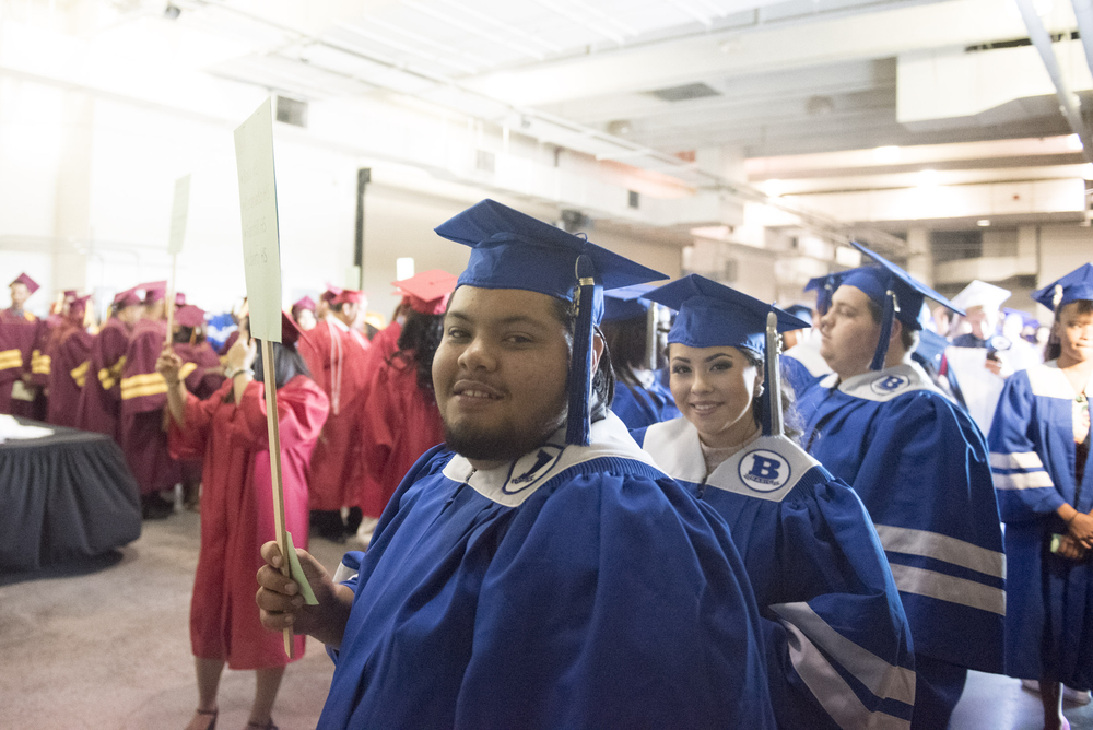 Basic High School graduates, Michael Del Rio and Lesley Garcia line up backstage during the Clark County School District's summer commencement ceremony at Orleans Arena in Las Vegas, Tuesday, Aug. 18, 2015. (Jason Ogulnik/Las Vegas Review-Journal)