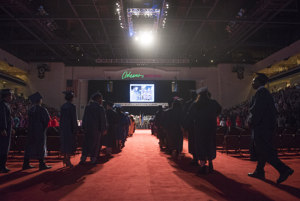 Newly graduated students prepare to take their seats during the Clark County School District's summer commencement ceremony at Orleans Arena in Las Vegas, Tuesday, Aug. 18, 2015. (Jason Ogulnik/Las Vegas Review-Journal)