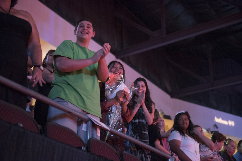 The audience is shown during the Clark County School District's summer commencement ceremony at Orleans Arena in Las Vegas, Tuesday, Aug. 18, 2015. (Jason Ogulnik/Las Vegas Review-Journal)