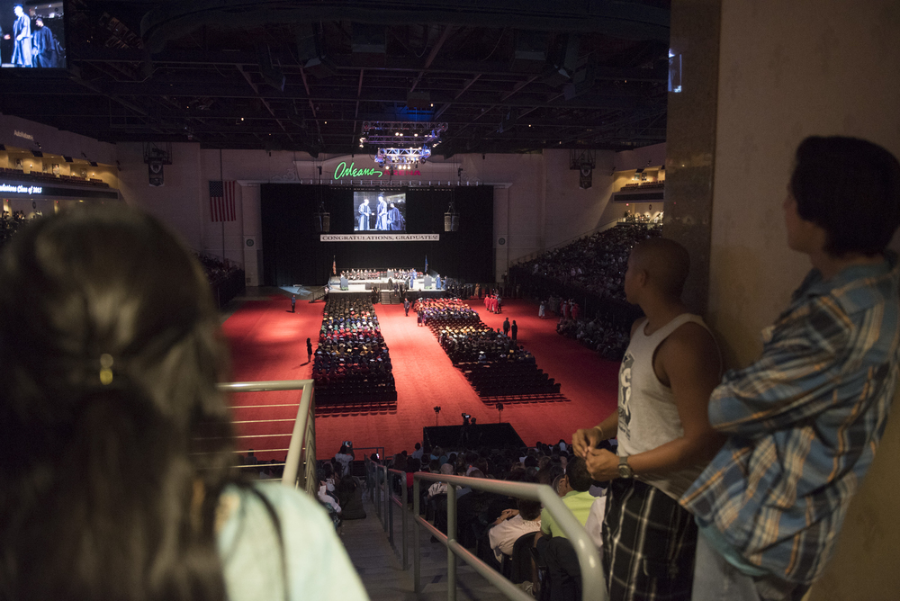 The graduates and audience is shown during the Clark County School District's summer commencement ceremony at Orleans Arena in Las Vegas, Tuesday, Aug. 18, 2015. (Jason Ogulnik/Las Vegas Review-Journal)