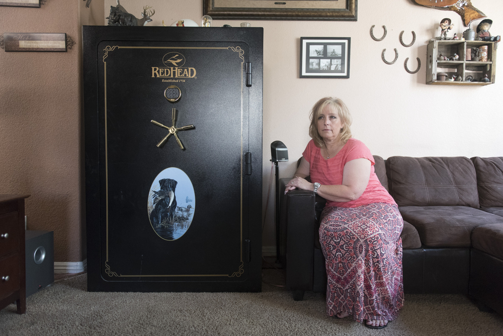 Kristi Beber poses next to the safe in her Las Vegas home Friday, Sept. 11, 2015. Jason Ogulnik/Las Vegas Review-Journa