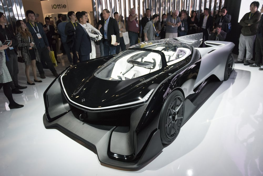 A Faraday Future FFzero1 concept car is seen at the 2016 International Consumer Electronics Show (CES) in Las Vegas, Nevada, USA, 06 January 2016. Photo: Jason Ogulnik/dpa