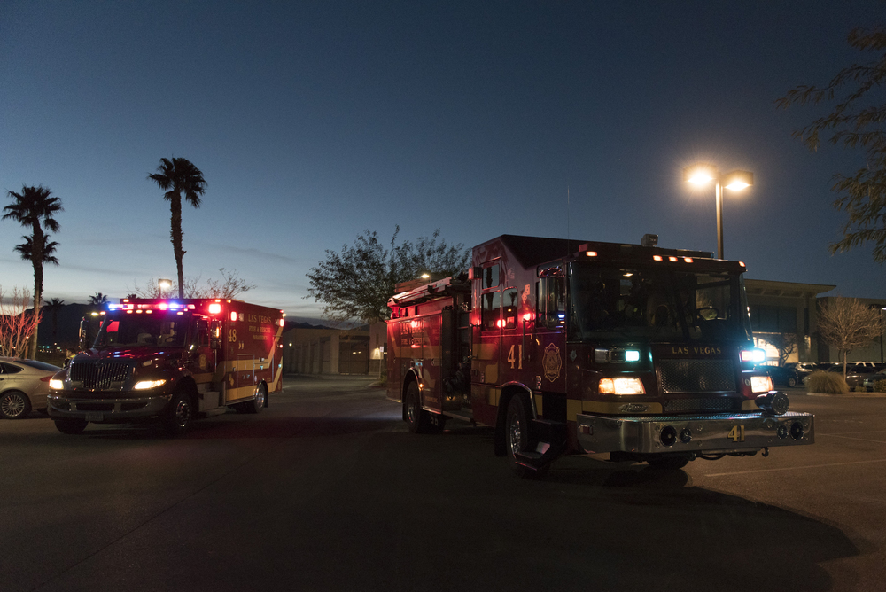 Las Vegas Fire & Rescue Fire Stations 41 and 48 respond to a call in the Target parking lot at 6480 Sky Pointe Dr. Monday evening, Jan. 11, 2016. Jason Ogulnik/Las Vegas Review-Journal