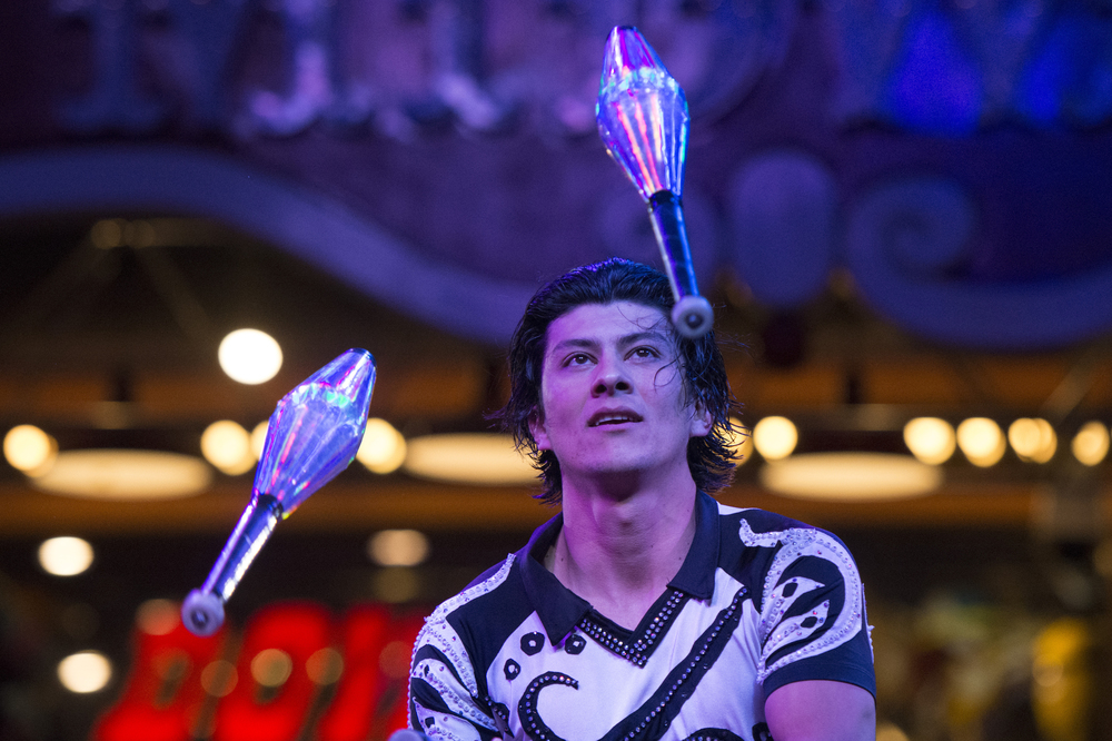 A juggler performs at Circus Circus Hotel & Casino's midway stage in Las Vegas Tuesday, Feb. 2, 2016.