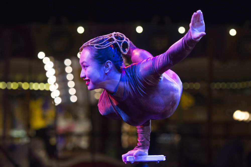 A balancer performs at Circus Circus Hotel & Casino's midway stage in Las Vegas Tuesday, Feb. 2, 2016.