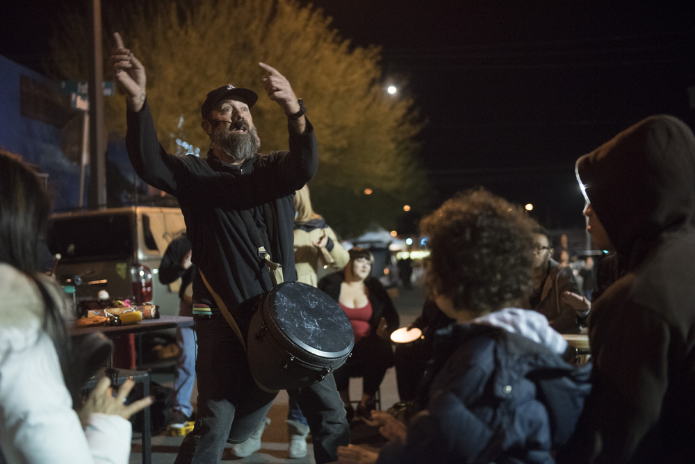 Jeffrey Trower of Community Productions, left, leads a drum circle during the First Friday arts festival in downtown Las Vegas' 18b Arts District Friday, Feb. 5, 2016. The festival resumed after several months off to reorganize. Jason Ogulnik/Las Vegas Review-Journal