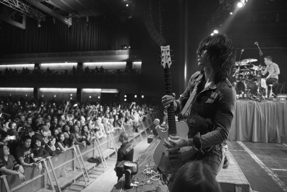 Cameron Liddell of Asking Alexandria performs at The Joint at Hard Rock Hotel & Casino in Las Vegas Saturday, Feb. 6, 2016. Photo by Jason Ogulnik