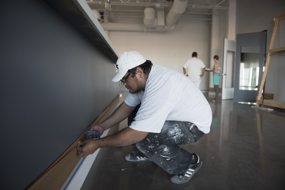 José Salcedo prepares the lobby area for painting in the soon to be opened Evolution Yoga at 1225 W. Warm Springs Rd. in Henderson Monday, Feb. 1, 2016. Jason Ogulnik/Las Vegas Review-Journal