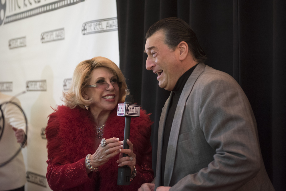 Joan Rivers impersonator Dee Dee Hanson, left, speaks with Robert De Niro impersonator Robert Nash during the red carpet event ahead of The Reel Awards at Golden Nugget Hotel Casino in Las Vegas Monday, Feb. 22, 2016. The Reel Awards are meant to be a humorous tribute to the real Academy Awards. Jason Ogulnik/Las Vegas Review-Journal