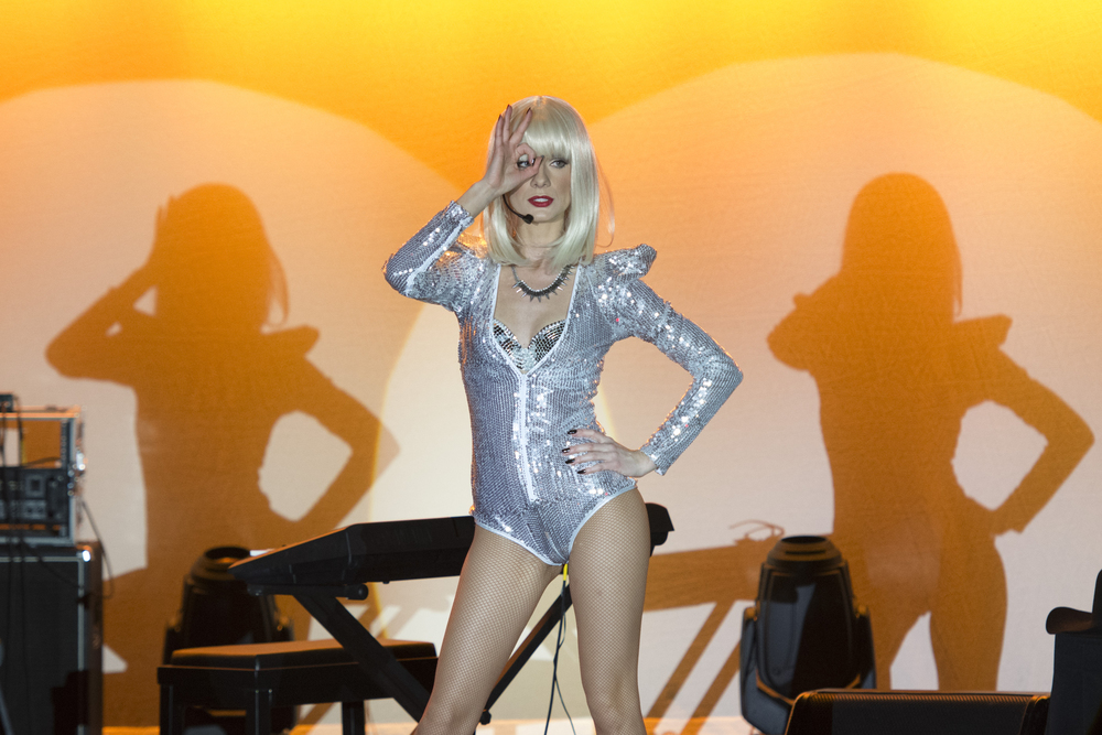 Lady Gaga impersonator Christina Shaw performs during The Reel Awards at Golden Nugget Hotel Casino in Las Vegas Monday, Feb. 22, 2016. The Reel Awards are meant to be a humorous tribute to the real Academy Awards. Jason Ogulnik/Las Vegas Review-Journal