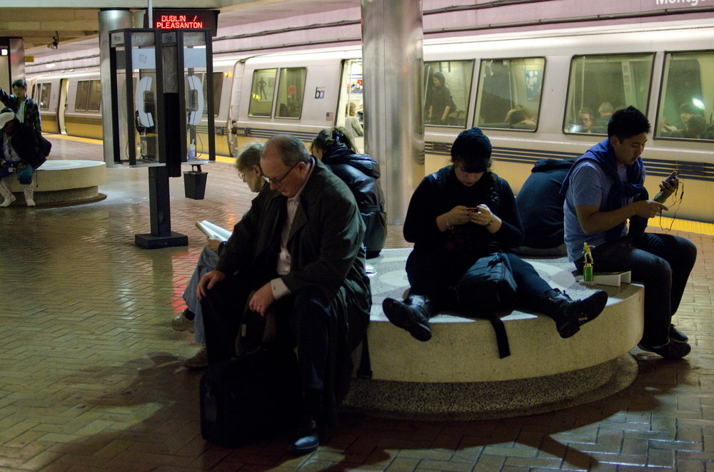 Passengers wait for a BART train in downtown San Francisco, Calif. Wednesday, Dec. 5, 2012.