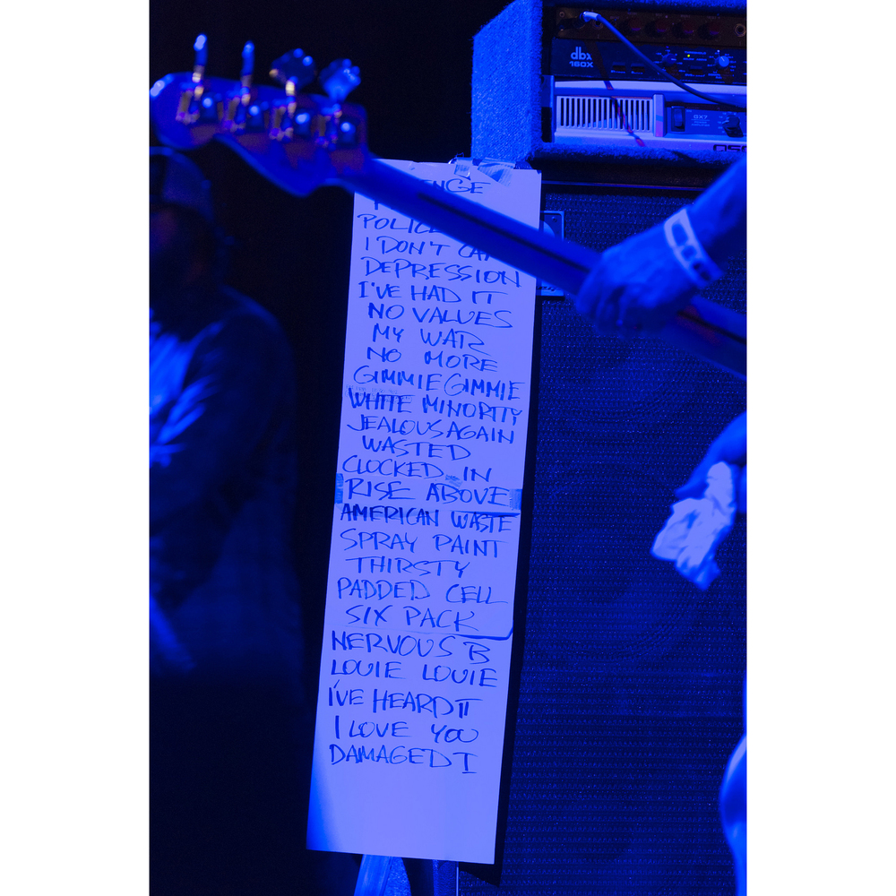 Flag's set list is seen during the 18th annual Punk Rock Bowling & Music Festival in downtown Las Vegas Saturday, May 28, 2016. The first four songs read Revenge, Fix Me, Police Story and I Don't Care.
