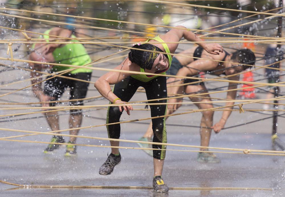 Runners negotiate the course during the Badass Dash at Sam Boyd Stadium in Las Vegas Saturday, May 28, 2016. Jason Ogulnik/Las Vegas Review-Journal