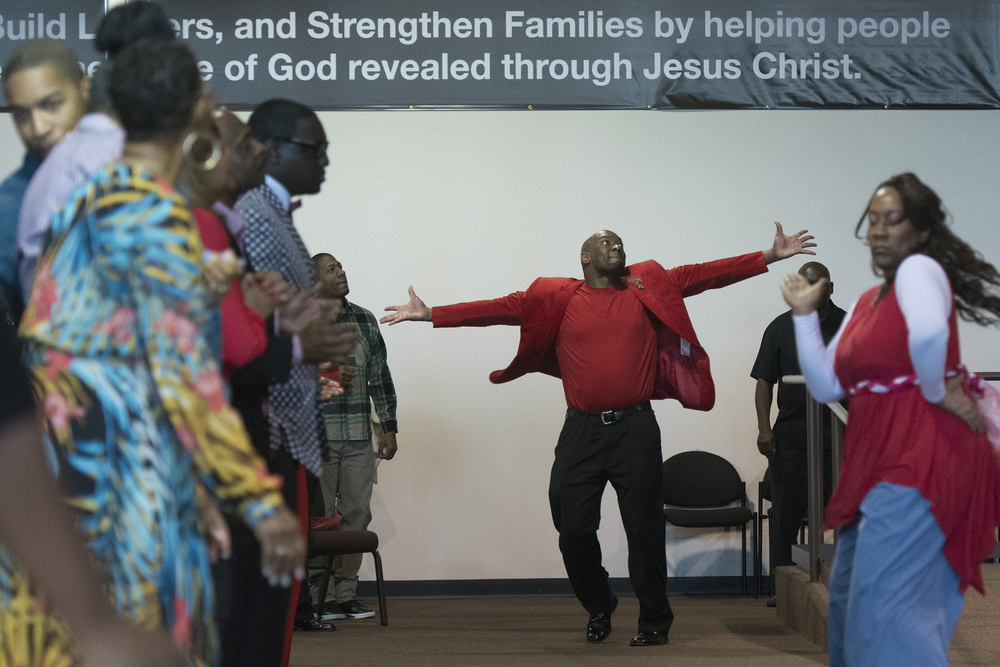 A man dances as the Worship Culture choir performs during services at Christian Embassy Worship Center at 2020 Olympic Ave. in Henderson Sunday, Feb. 14, 2016. Worship Culture will perform at the Heart & Soul event in Henderson on Feb. 27. Jason Ogulnik/Las Vegas Review-Journal