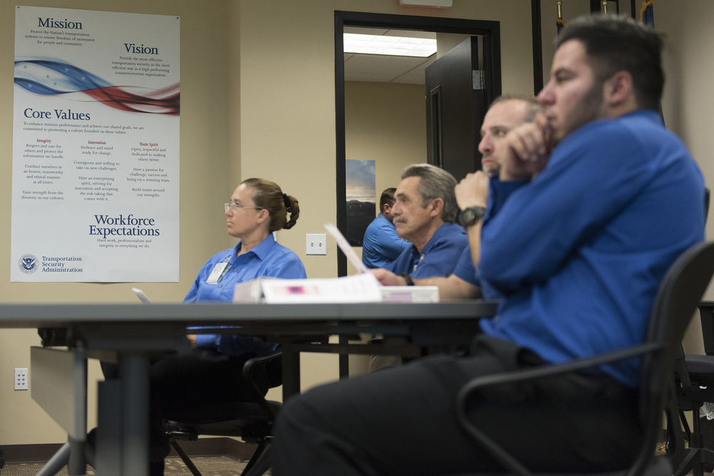 Transportation Security Administration screener trainees, from left, Karen Leliefeld, Joe Curila, Thomas Bartolin and  Luis Covarrubias attend a TSA training session at TSA's office in Las Vegas Monday, June 6, 2016. Jason Ogulnik/Las Vegas Review-Journal