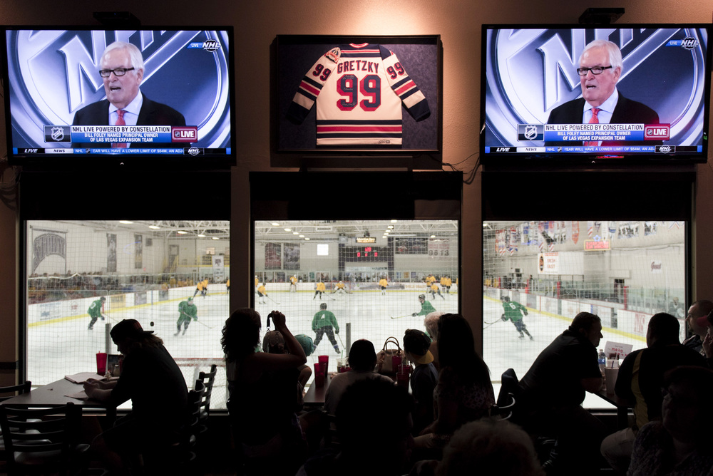 Bill Foley, principal owner of the Las Vegas NHL expansion franchise, is seen on television screens during a conference in which the NHL's Board of Governors announced approval of Foley's expansion franchise in Las Vegas at Brooksy's Bar & Grill Wednesday, June 22, 2016. Jason Ogulnik/Las Vegas Review-Journal