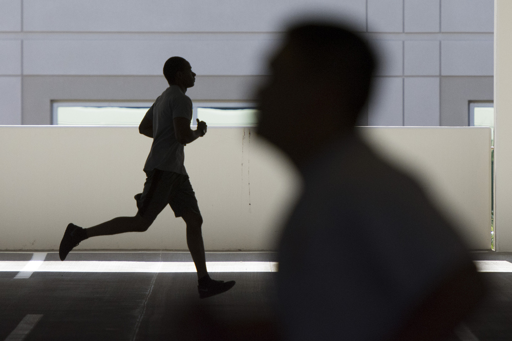 Participants run during a recruiting boot camp at Las Vegas police headquarters in Las Vegas Saturday, June 25, 2016. Jason Ogulnik/Las Vegas Review-Journal