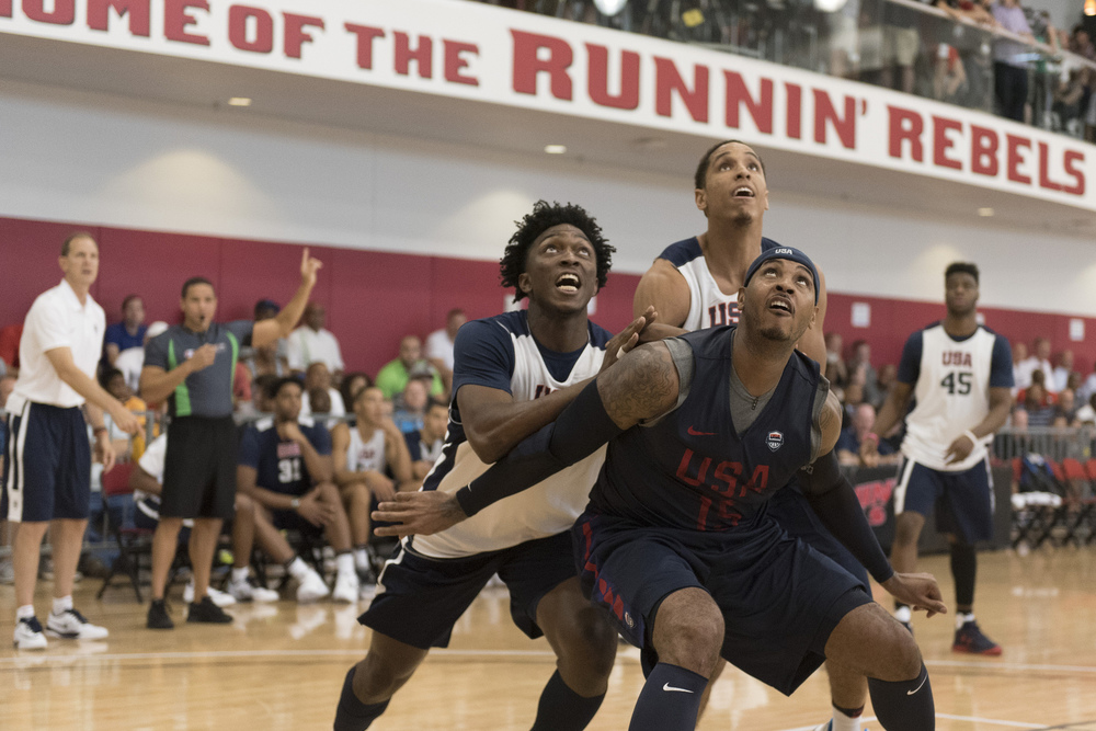 Forward Carmelo Anthony (15), right, positions himself for a rebound during a USA men's basketball Olympic team practice at UNLV's Mendenhall Center in Las Vegas Tuesday, July 19, 2016. Jason Ogulnik/Las Vegas Review-Journal
