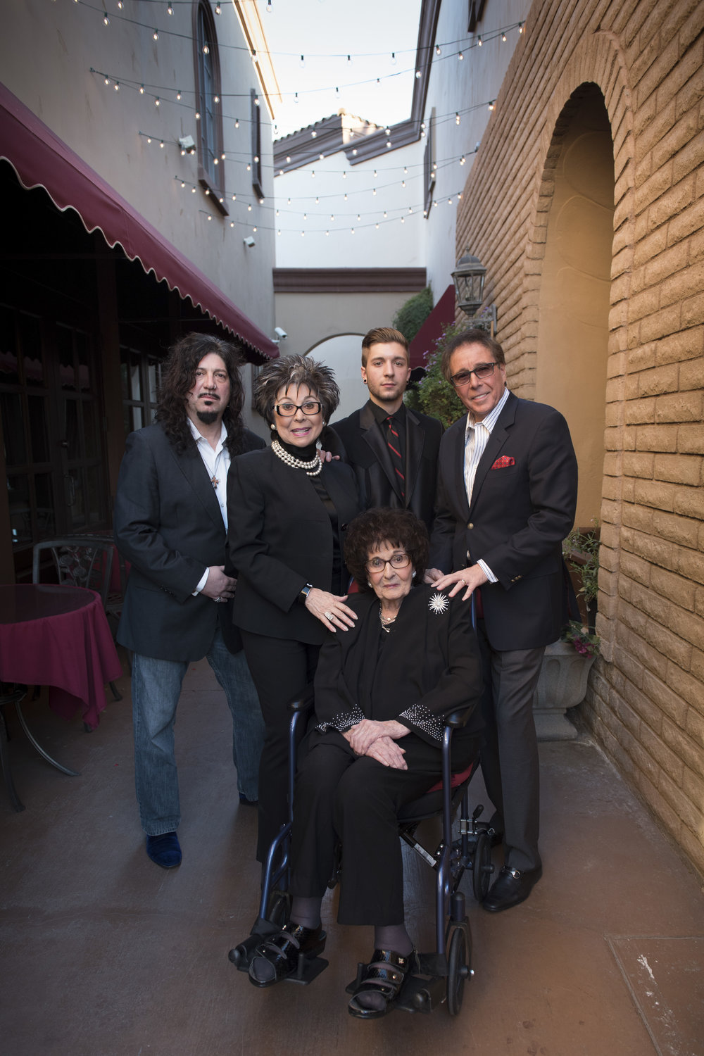 The four generations of family members that run Bootlegger Bistro pose at their Las Vegas restaurant, Saturday, March 28, 2015. Clockwise from top left: Ronnie Mancuso, Lorraine Hunt-Bono, Roman Mancuso, Dennis Bono and Maria Perry.