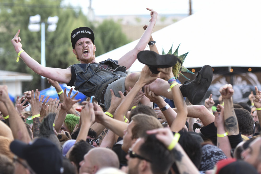 A crowd surfer at Punk Rock Bowling music festival in downtown Las Vegas, May 24, 2015.