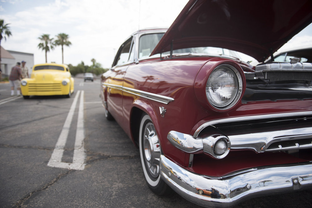 Classic cars are displayed at the West End Boys car gathering in the Vons parking lot at 6000 W. Cheyenne Ave. in Las Vegas, Sunday, July 5, 2015.(Jason Ogulnik/Las Vegas Review-Journal)