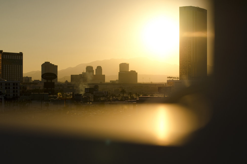 The sun sets over Las Vegas on Friday, Nov. 21, 2014.