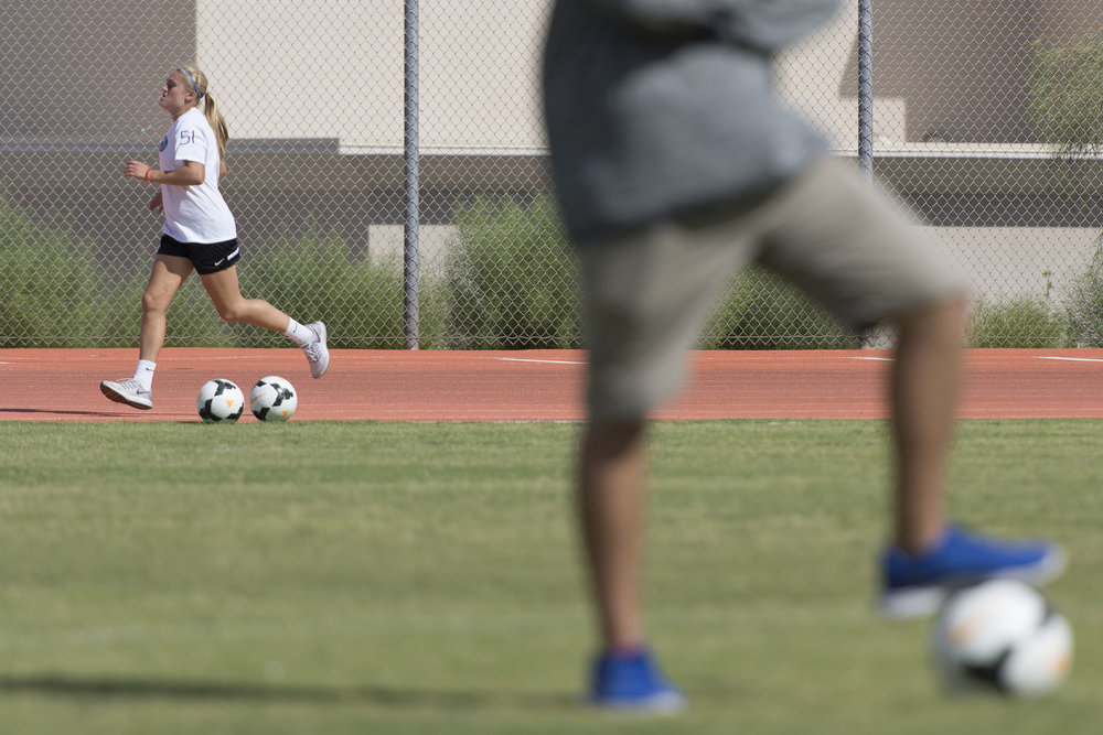 Arlie Jones (51), runs around the track during girls soccer practice at Bishop Gorman High School in Las Vegas Thursday, Aug. 18, 2016. Jason Ogulnik/Las Vegas Review-Journal