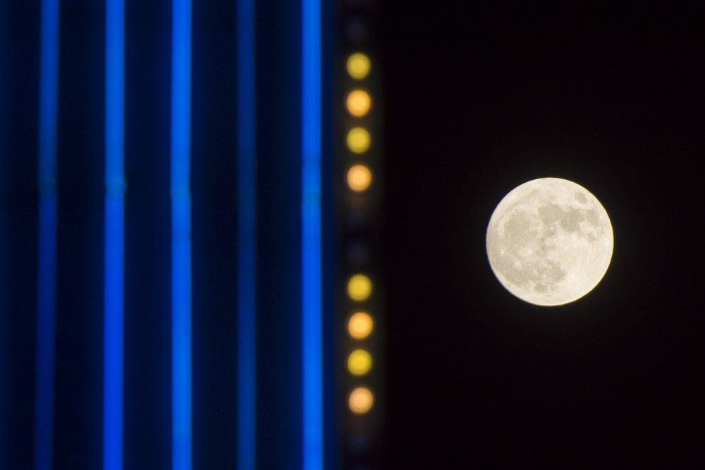 The super moon is seen from near Tropicana Avenue and Koval Lane in Las Vegas, Sunday, Nov. 13, 2016. Jason Ogulnik/Las Vegas Review-Journal
