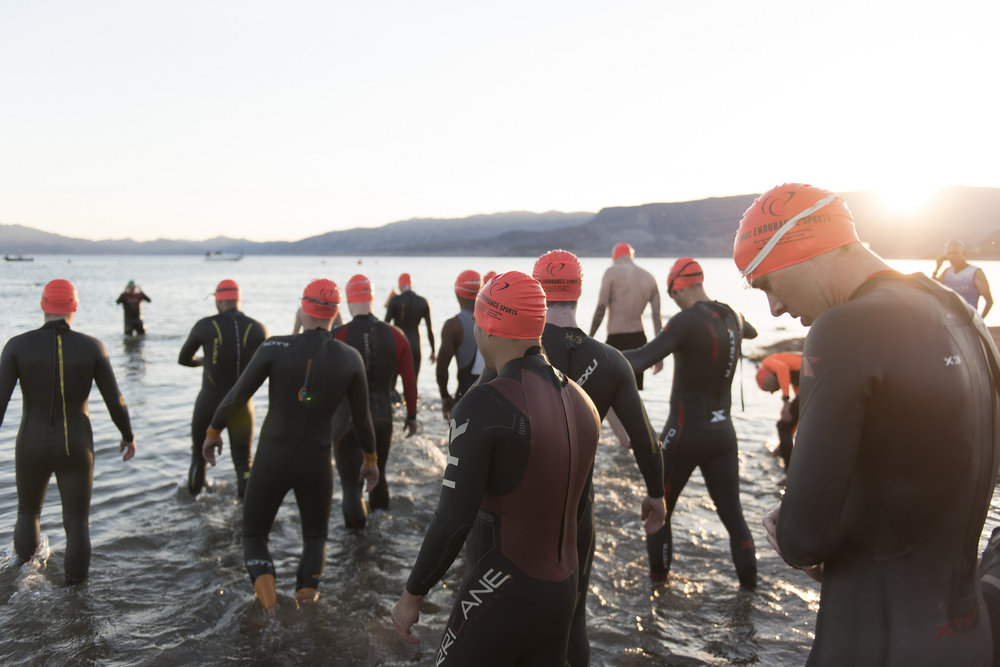 Swimmers enter the water during the first leg of the Las Vegas Triathlon at Lake Mead near Boulder City, Saturday, Oct. 1, 2016. Jason Ogulnik/Las Vegas Review-Journal