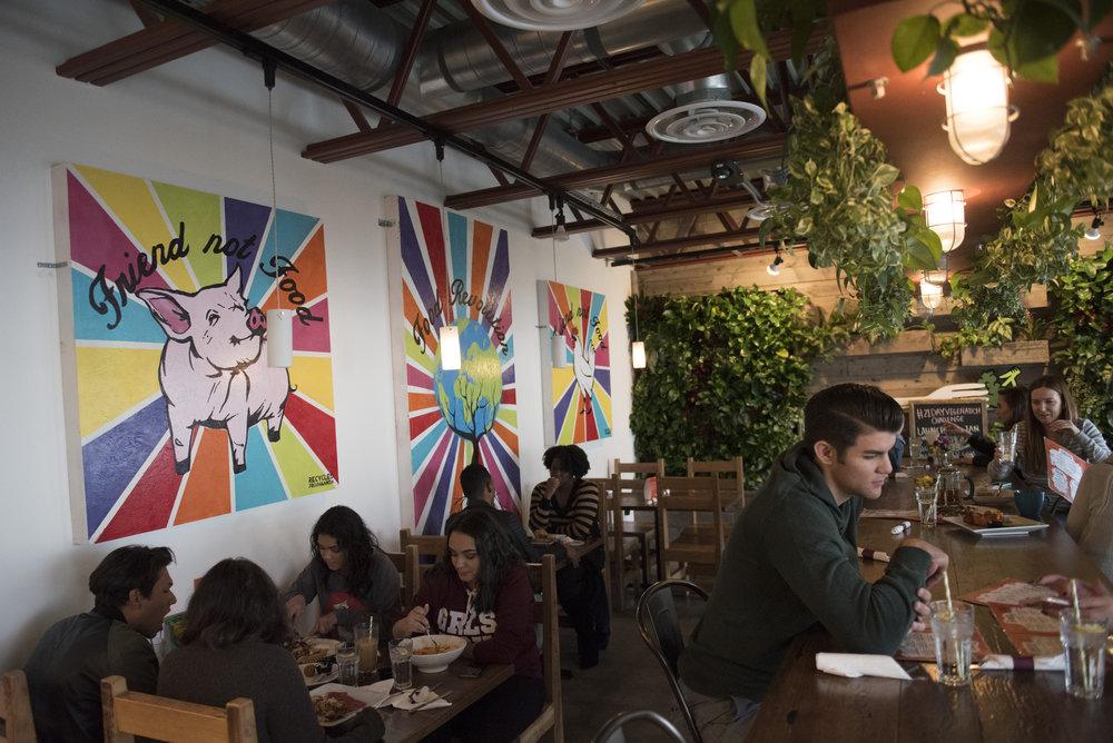 Customers dine at VegeNation at 616 Carson Ave. #120 in Las Vegas, Nev., Saturday, Jan. 14, 2017. (Jason Ogulnik/For The Washington Post)