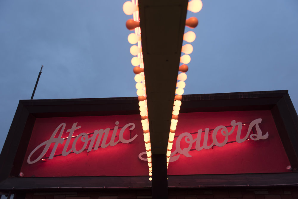 Signage for Atomic Liquors at 917 Fremont St. in Las Vegas, Nev. is seen Saturday, Jan. 14, 2017. (Jason Ogulnik/For The Washington Post)