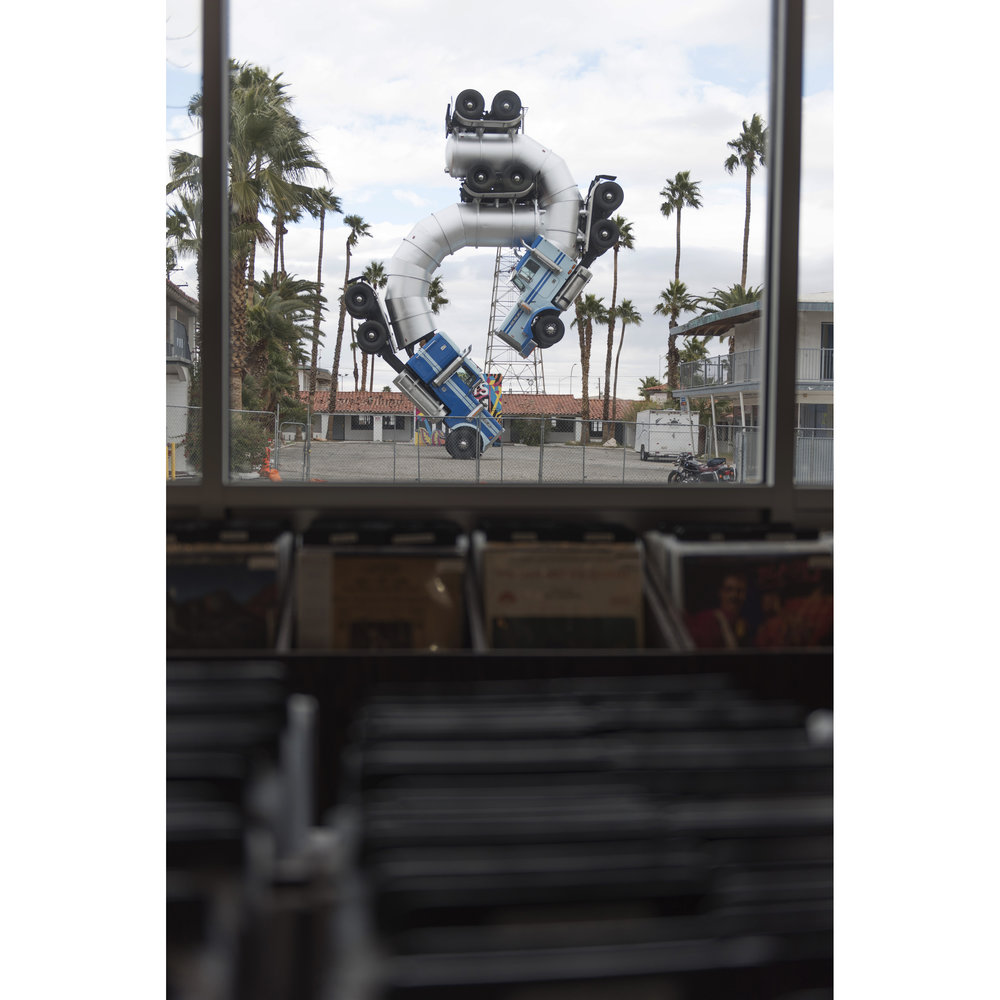 """Big Rig Jig"" by artist Mike Ross is seen through the window of 11th Street Records in Las Vegas, Nev., Saturday, Jan. 14, 2017. (Jason Ogulnik/The Washington Post)"