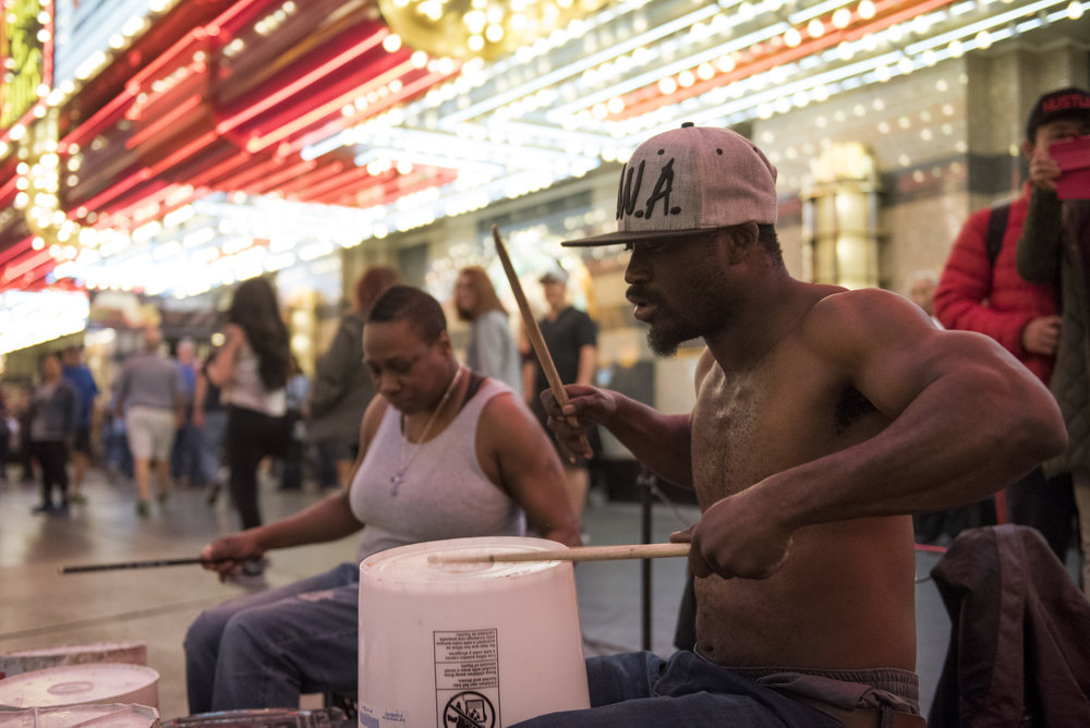 Buskers on Fremont Street in downtown Las Vegas, Thursday, Feb. 9, 2017