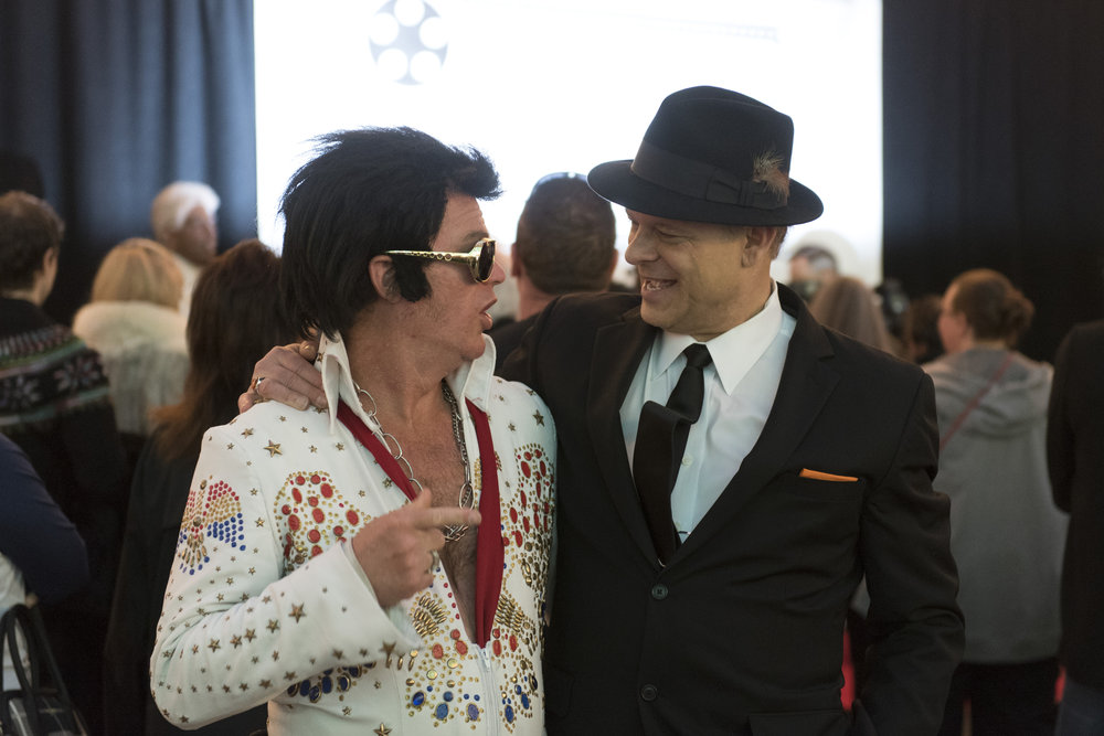 Frank Sinatra impersonator James Anthony, right, talks with an Elvis Presley impersonator on the red carpet prior to The Reel Awards at the Golden Nugget Hotel & Casino in Las Vegas, Nev., on February 20, 2017. The awards show is meant to be a humorous tribute to the Academy Awards. (Jason Ogulnik/Sipa USA)